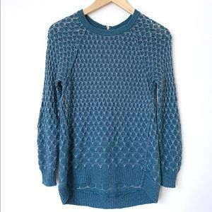 Anthropologie | Honeycomb Knit Hi Lo Teal Sweater